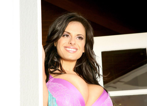 Candids of Wendy Fiore in nothing but a scarf